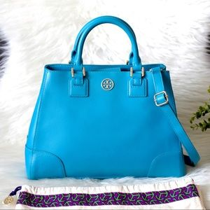 Tory Burch Robinson Triangle Satchel Tote Handbag